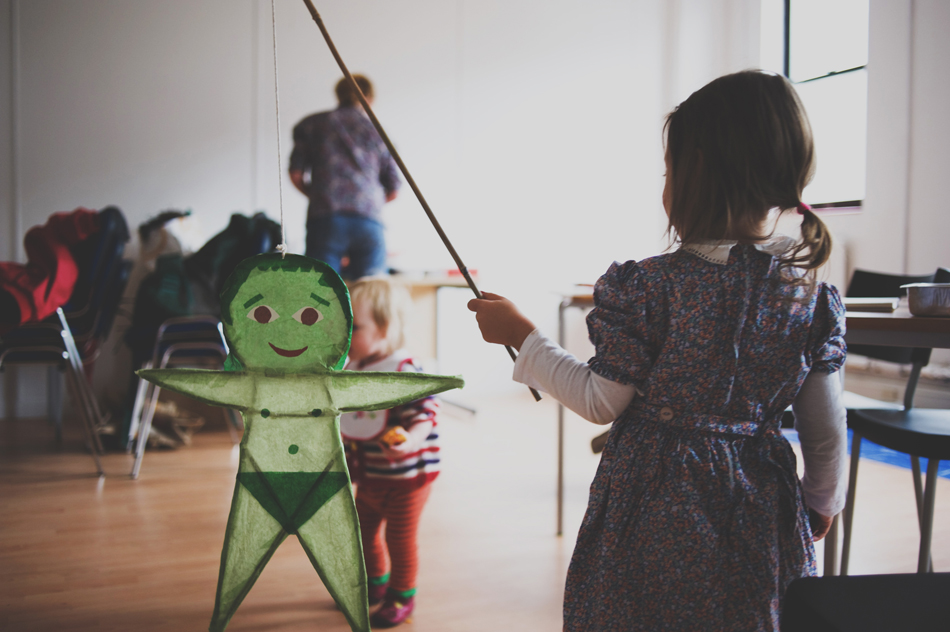 photo of a child with a green man