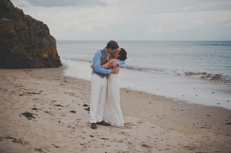 Relaxed beach wedding Ravensheugh Log Cabin, East Lothian