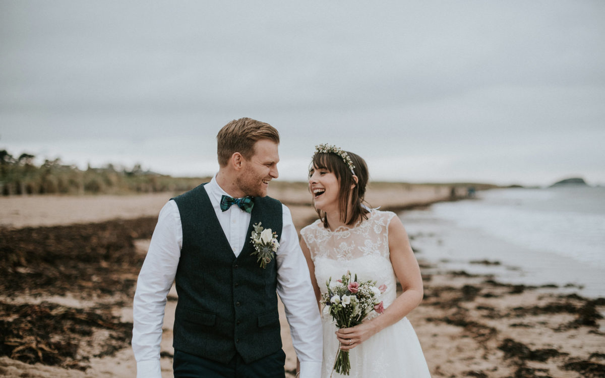 Beach ceremony and Aberlady Village Hall Wedding