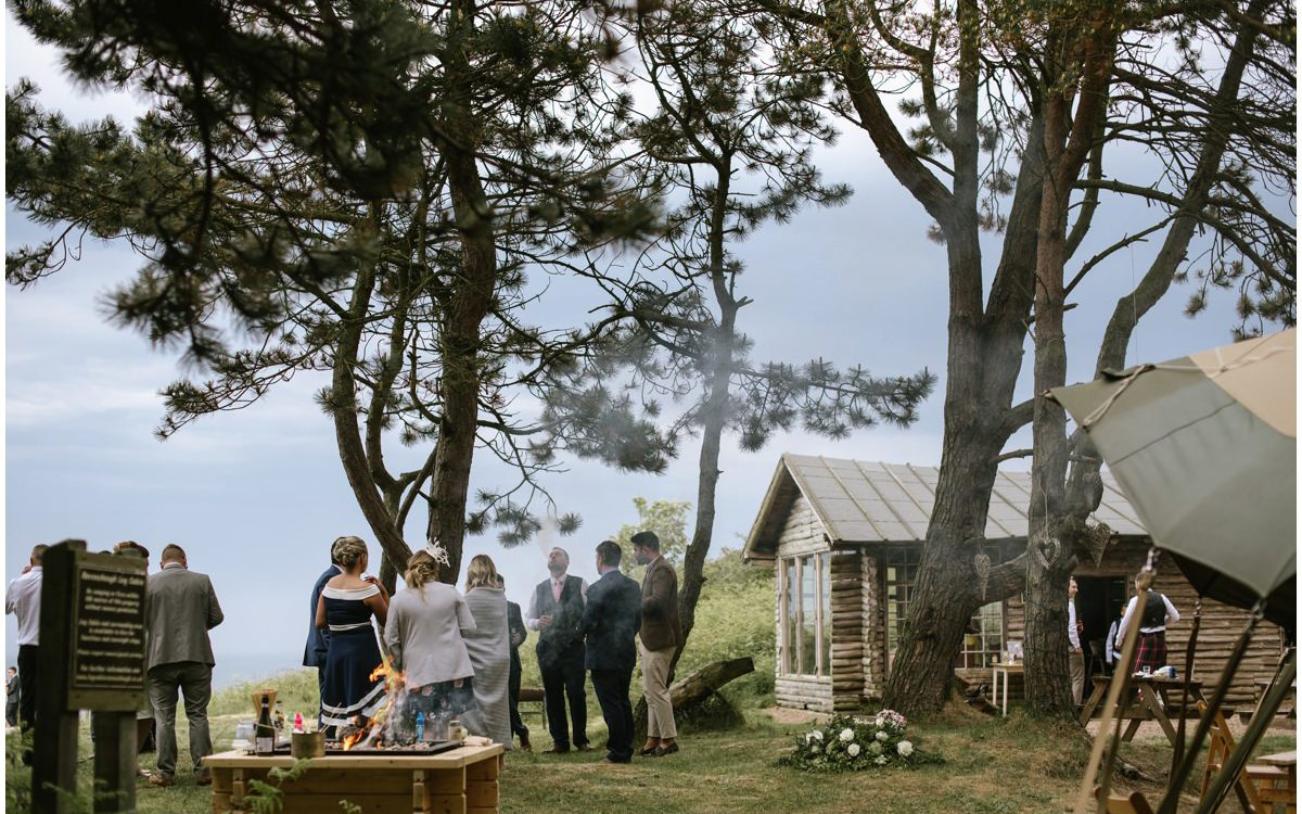 Ravensheugh Log Cabin woodland wedding by the sea