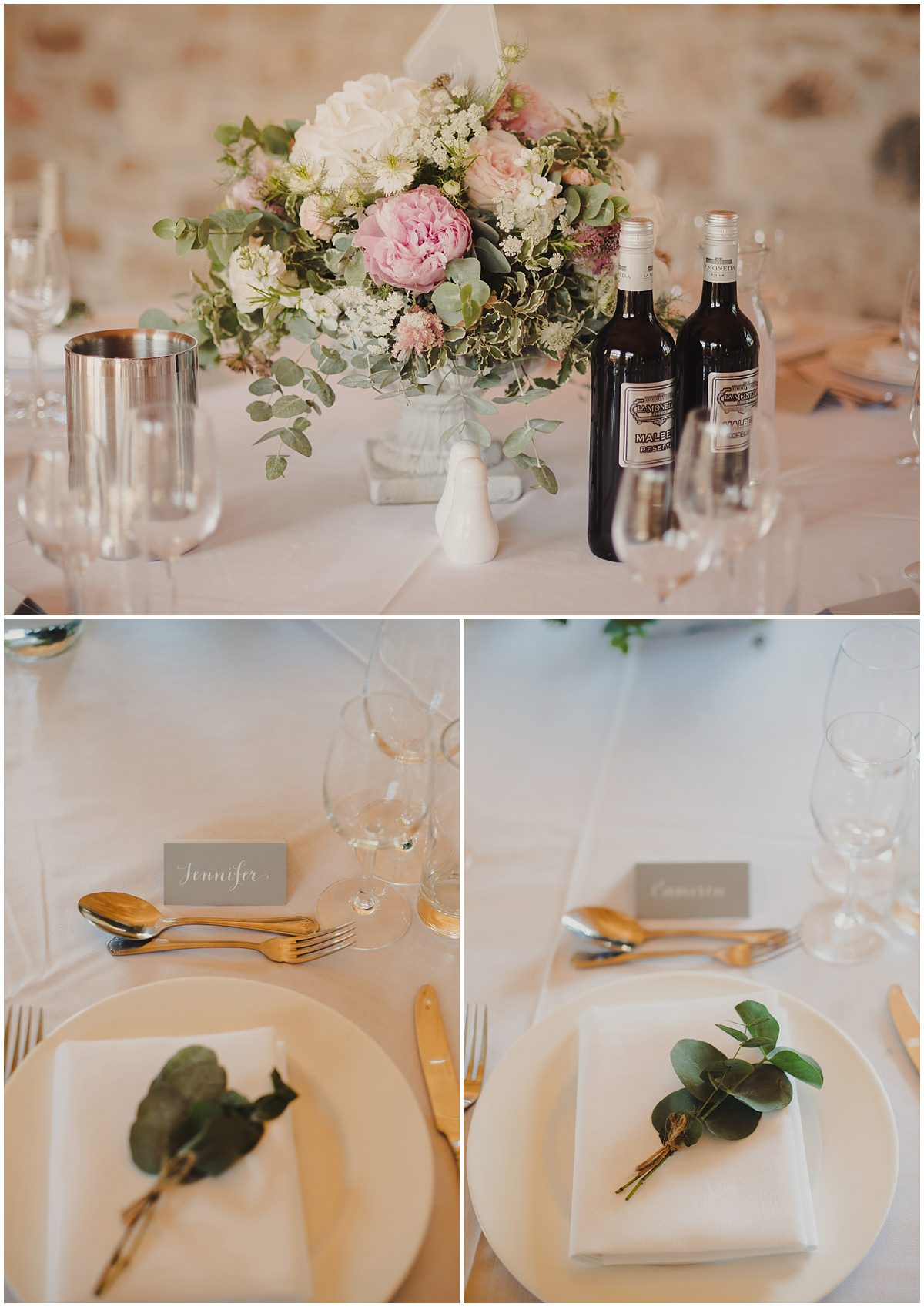 table settings at the barn by narcissus florist