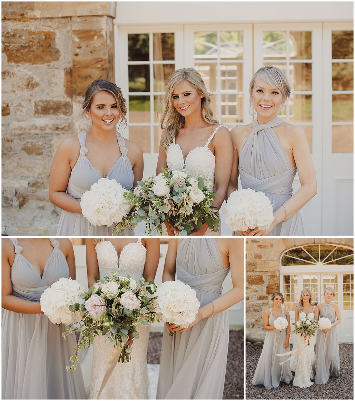 bride and bridesmaids outside the barn