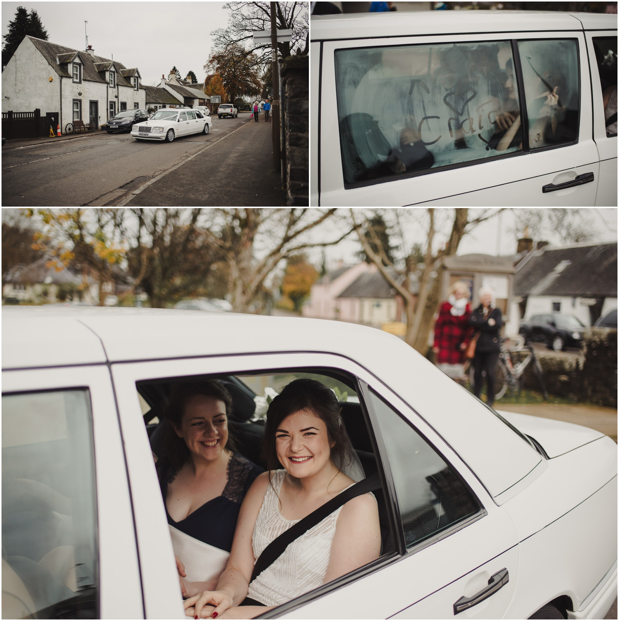 bride arrive is in the car